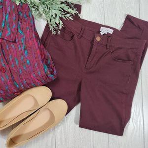 Ann Taylor Loft wine stretch skinny jeans